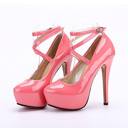 Peche Talon Epais Ochenta Pu Plateforme Club Cheville Chaussures Fermeture Sexy 2 Soiree Aiguille Rouge Femme Lacets Bride Escarpins xwqw4fUa