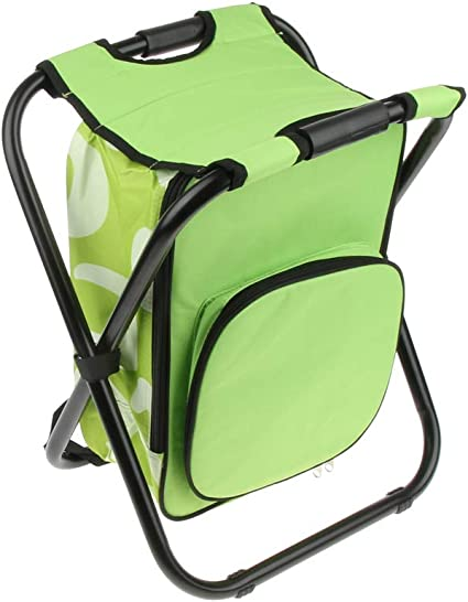green Foldable Backpack Chair Portable Camping Stool with Cooler Bag