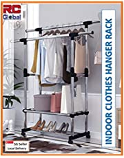 RC-Global C-46 BK Clothes rack/Clothes Horse/Clothes Hanger/Clothes drying rack/Clothes dryer/Clothes hanging Stand/Clothes hanging rack/Clothes stand/laundry drying rack (Black or White),Black,White