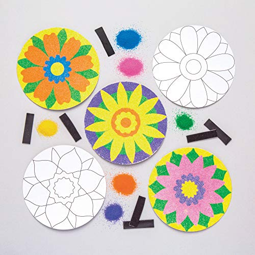 Baker Ross Flower Sand Art Magnet Kits (Pack of 6) Spring Crafts for Kids to Decorate and -