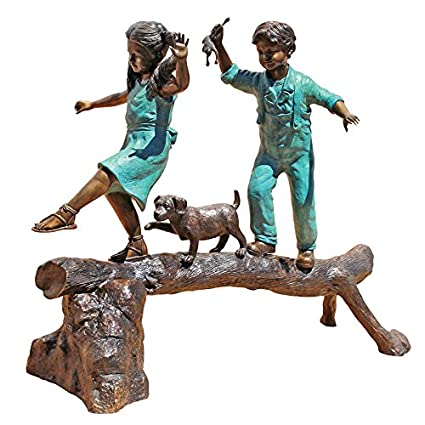 Design Toscano The Adventure Boy And Girl On Log Garden Statue, Cast Bronze