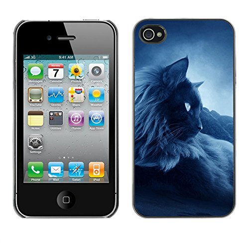 TaiTech / Case Cover Housse Coque étui - Feline Cat Siamese Blue Mist Fog - Apple iPhone 4 / 4S