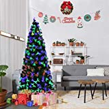 Goplus 6FT Artificial Christmas Tree Pre-Lit Optical Fiber Tree 2 Flash Modes W/ UL Certified Multicolored LED Lights & Metal Stand