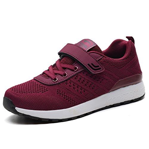 Transpirables Femeninos de Zapatos Cómodos Zapatos red Zapatos Viaje Malla de Hasag Zapatos de de Mamá Wine Verano Verano Antideslizantes Cómodos vwYYC7q1