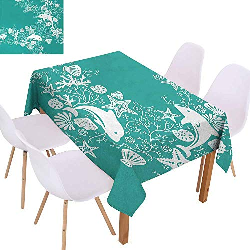 UHOO2018 Sea Animals,Rectangle Tablecloth,Dolphins Flowers Sea Life Floral Pattern Starfish Coral Seashell Wallpaper,for Kitchen Dinning Decoration,Sea Green White,60