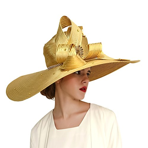 Kueeni Women Hats Church Hats for Wedding Mother of Bride Hats Silver (Gold)