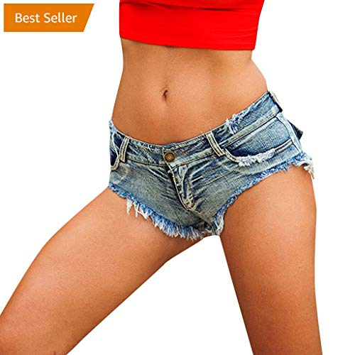 - hositor Jean Shorts for Women, Women Sexy Bandage Button Cut Off Low Waist Denim Jeans Shorts Mini Hot Pants