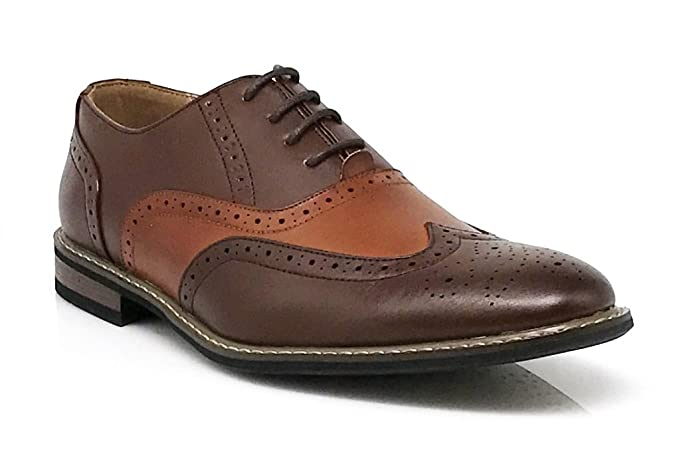 1950s Men's Clothing Wood8 Mens Spectator Two Tone Brown Tan Wingtips Oxfords Perforated Lace up Dress Shoes £32.52 AT vintagedancer.com
