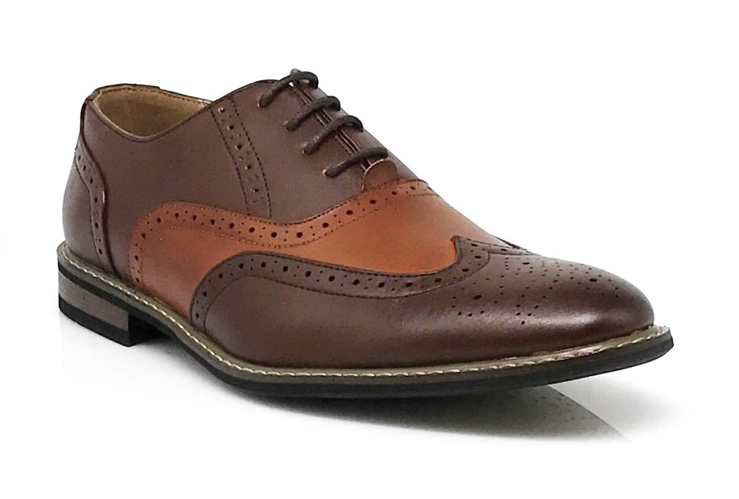 Wood8 Men's Spectator Two Tone Wingtips Oxfords Perforated Lace up Dress Shoes (10.5)