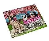 I Love Pug Dogs in a Cart Art Portrait Print Woven Throw Sherpa Plush Fleece Blanket (60X80 Woven)