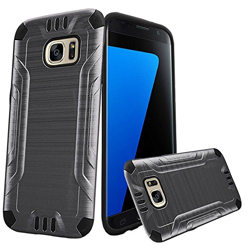 For Samsung Galaxy S7 SM-G930 Metallic Slim Armor Case [SlickGearsTM] Premium Brushed Metal Finish Shock Impact Protection Dual Layer TPU Hybrid Case (Gray)