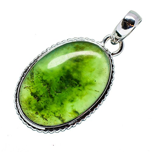 Genuine 925 Silver Jade Necklace (Nephrite Jade Pendant 1 3/4