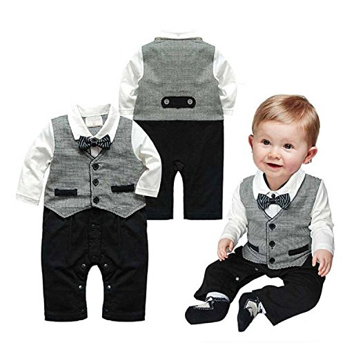 Baby Boy Formal Party Christening Wedding Tuxedo Waistcoat Bow Tie Suit 0-24M 12-18M Gray