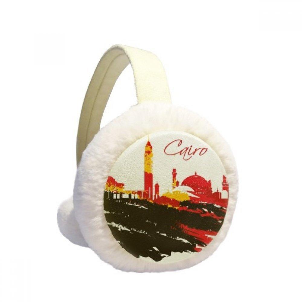 Egypt Pattern Morden City Muslim Pattern Winter Earmuffs Ear Warmers Faux Fur Foldable Plush Outdoor Gift