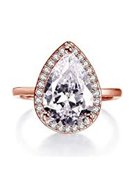 Rhodium Plated 4.85 Carat Clear Teardrop Pear Cut Cubic Zirconia CZ Solitaire Halo Ring Size 6-9