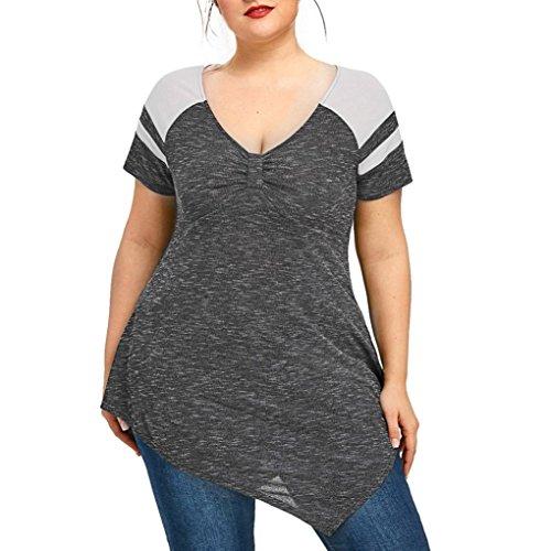 Hot Sale! Women's Plus Size Blouse E-Scenery Women Raglan Short Sleeve Plus Size Asymmetric T-Shirt Blouse V-Neck Top (Gray, XXXXX-Large)