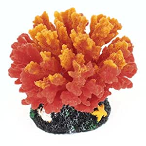 Ceramic Base Red Orange Silicone Coral Decoration for Fishtank Aquarium