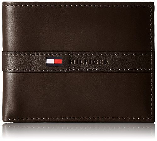 Tommy Hilfiger Men's Leather Wallet - Thin Casual Passcase with 6 Credit Card Pockets and Removable ID Window