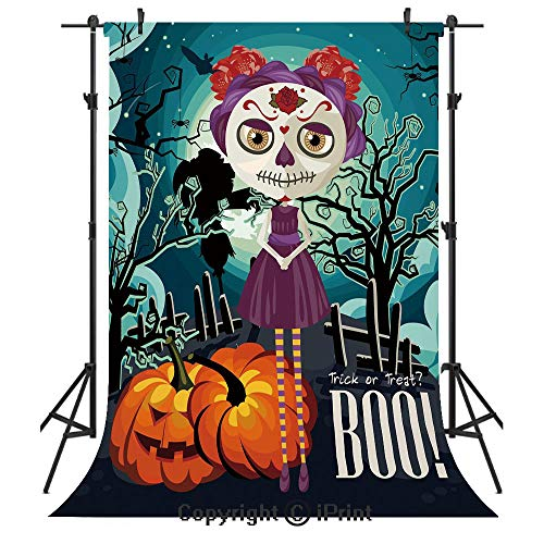 Halloween Photography Backdrops,Cartoon Girl with Sugar Skull Makeup Retro Seasonal Artwork Swirled Trees Boo Decorative,Birthday Party Seamless Photo Studio Booth Background Banner 6x9ft,Multicolor]()