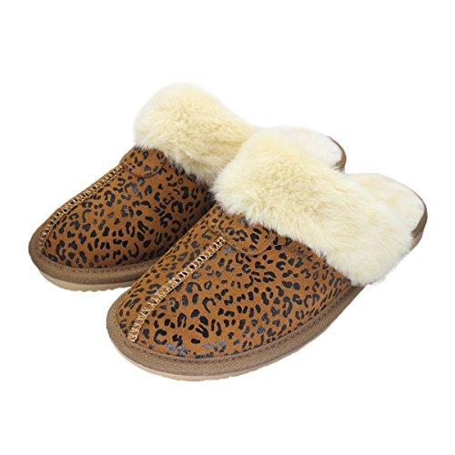Bestfur Mujeres Soft Warm Antideslizante Felpa Vaca Gamuza Pantuflas Leopardo