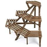MyGift Rustic Brown Wood Planter Stand, Freestanding 3 Tier Corner...