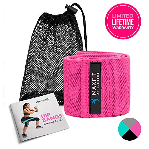Premium Hip Resistance Band Circle Loop for Women Non-Slip Elastic Fabric Squat Band Circle to Workout Legs and Butt, Great for Glute & Thigh Activation Recovery and Lifting (Pink)