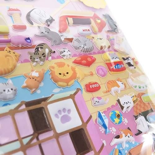 (Cute cat animal kitty bed puffy 3D sponge stickers from Japan)