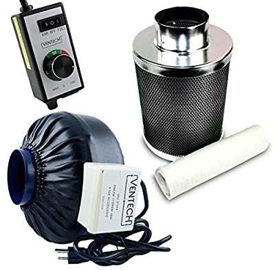 """VenTech VT IF4+CF4-B Inline Exhaust Blower Fan with Carbon Filter and Variable Speed Controller, 190 CFM, 4"""""""