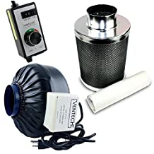 """VenTech 4"""" inch Inline Duct Fan Exhaust Fan blower 190CFM with Carbon Filter Combo Scrubber"""