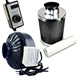 4 blower and carbon filter - VenTech VT IF4+CF4-B Inline Exhaust Blower Fan with Carbon Filter and Variable Speed Controller, 190 CFM, 4