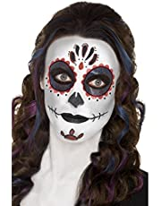 Smiffys 44226 - Dag van de dode make-up kit met gezichtsverf gezicht tattoo Gem sticker Crayon en applicators