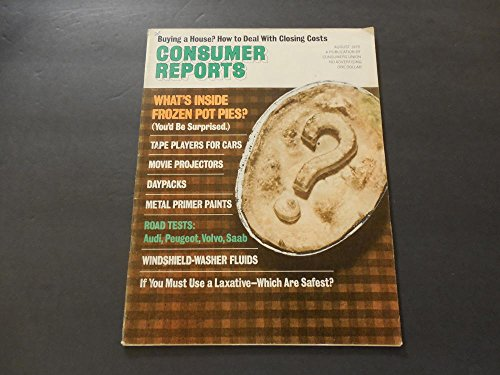Consumer Reports Aug 1975 Frozen Pot Pies; Movie Projectors; Daypacks (Consumer Pack)