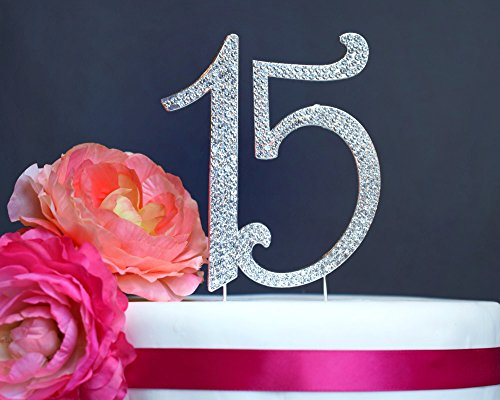 15 Quinceanera Cake Topper Premium Crystal Rhinestones - Monogram Number fifteen - 15th Birthday or Anniversary Party Decoration - Crystals Securely Attached - Perfect Keepsake (15 Silver)