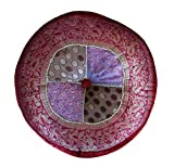 Relaxus Meditation Cushion, Pillow, Uniquely Handcrafted by Artisans in India, Traditional Round Shape, Beautifully Designed, Hand-Made in India, Size: 16'' x 16'' x 5'', Varanasi