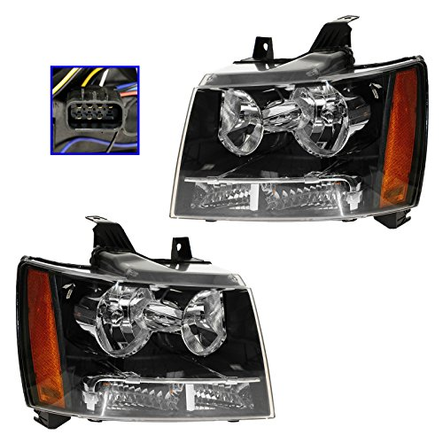 Headlights Headlamps Pair Set of 2 for 07-13 Chevy Suburban Tahoe Pickup Truck