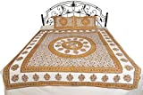 Bright-White Bedsheet from Pilkhuwa with Floral Print and Chakra - Pure Cotton with Pillow Covers - Color Marigold Color