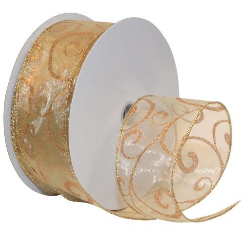 Morex Ribbon Swirl Wired Sheer Glitter Ribbon, 2-1/2-Inch by 50-Yard Spool, Gold/Bronze