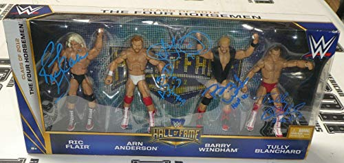 (Ric Flair Barry Windham Tully Blanchard Signed WWE 4 Horsemen Action Figure Set - Autographed Wrestling Cards)
