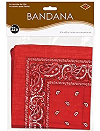 Beistle 60753-R Bandana, 22-Inch by 22-Inch, Red