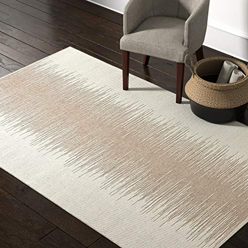 Rivet Abstract Reflections Modern Wool Area Rug, 5 x 8 Foot, Taupe