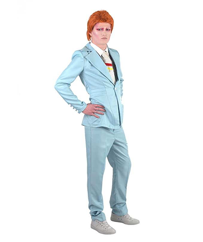 Amazon.com: 70s Legendary Pop Star Wig + Costume, Blue Adult (XL) Bundle HC-002/HM-061: Clothing