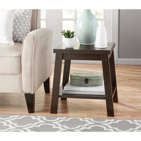 Sturdy Small Side Table With Open Shelf For Storage (1, Espresso)