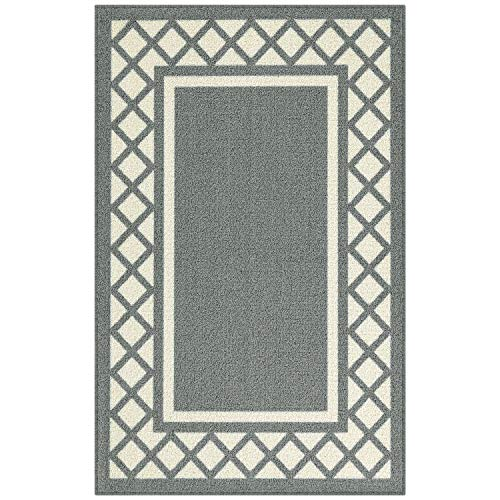 Maples Rugs Kitchen Rug - Bella 2'6 x 3'10 Non Skid Hallway Entry Rugs Accents [Made in USA] for Kitchen and Entryway, Light Grey/Neutral