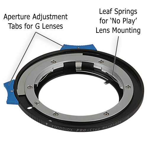 Fotodiox Pro Lens Mount Adapter - Nikon Nikkor F Mount G-Type D/SLR Lens to Canon EOS (EF, EF-S) Mount SLR Camera Body with Built-In Aperture Control Dial