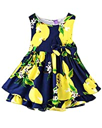 Rjxdlt Baby Girls Bowknot Lemon Print Skirt Dress 6-9 Months Blue