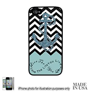 Anchor Live the Life You Love Infinity Quote - Powder Blue Black White Chevron with Anchor (Not Actual Glitter) iPhone 4 4S Hard Case - BLACK by Unique Design Gifts