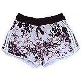 Glass House Apparel Women's Summer Casual High Waist Beach Shorts (Large/XLarge, Purple Floral)