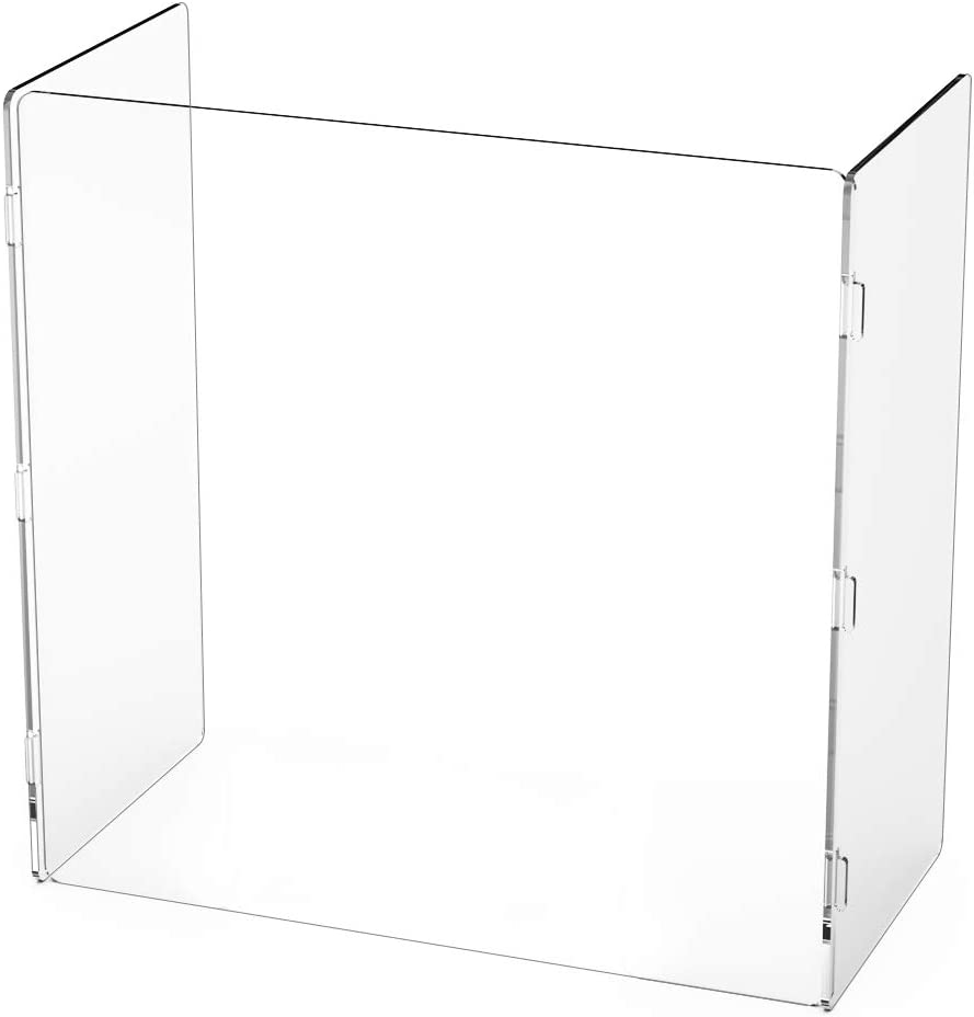 24 x 24 x 12 Clear Polycarbonate Sneeze Guard Three-Sided Desk Barrier