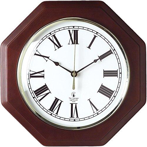 Lighthouse Brass Clock - ILC67207010 - Octagon Mahogany Quartz Clock