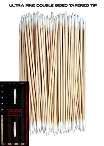 (Ultra Fine Double Sided Tapered Tip) Type-III 100pc Gun Cleaning 6 Inch American Made Cotton Swabs - 9 Applicators